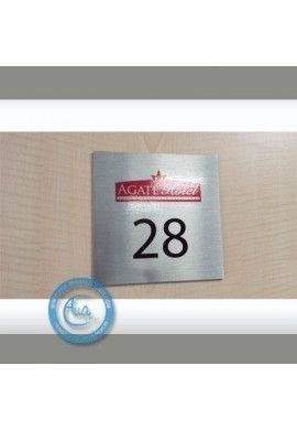 Plaque Numéro de chambre Aluminium brossé Doré
