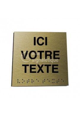 Plaque Alu Brossé Doré Braille Votre Texte*