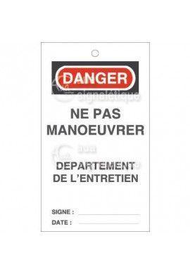 Etiquette de Sécurité - Ne pas Manoeuvrer