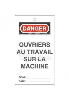 Etiquette de Sécurité - Ouvriers au travail sur la machine