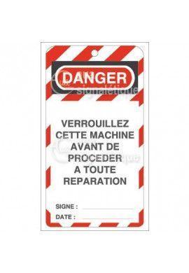 Etiquette de Sécurité - Verrouillez cette machine avant réparation