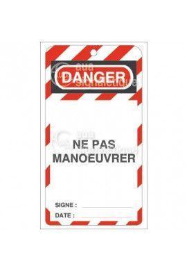 Etiquette de Sécurité - Danger ne pas manœuvrer V2