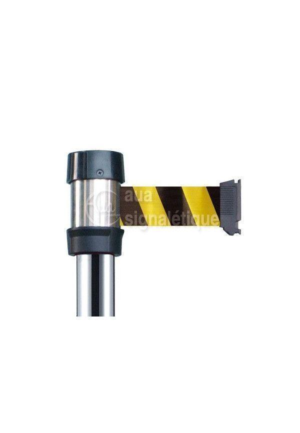 Poteau chromé à sangle jaune/noir - 4 mètres