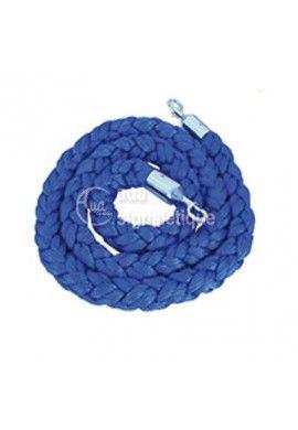Cordon tressé en velours bleu - chromé