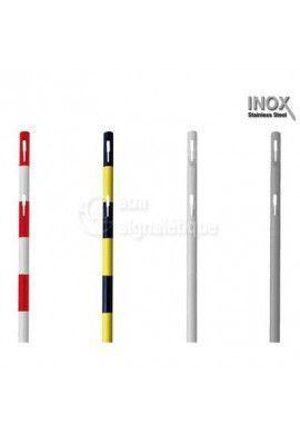 Poteau acier - à sceller - Rouge/Blanc - 1000mm