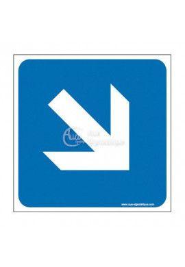 Plaque de porte Flèche de direction en bas à droite