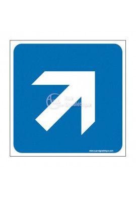 Plaque de porte Flèche de direction en haut à droite