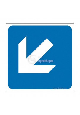 Plaque de porte Flèche de direction en bas à gauche