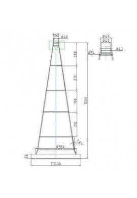 Kit barrière 4 Cônes de Signalisation classe 2- 2 bandes - 1000mm + 4 Barres