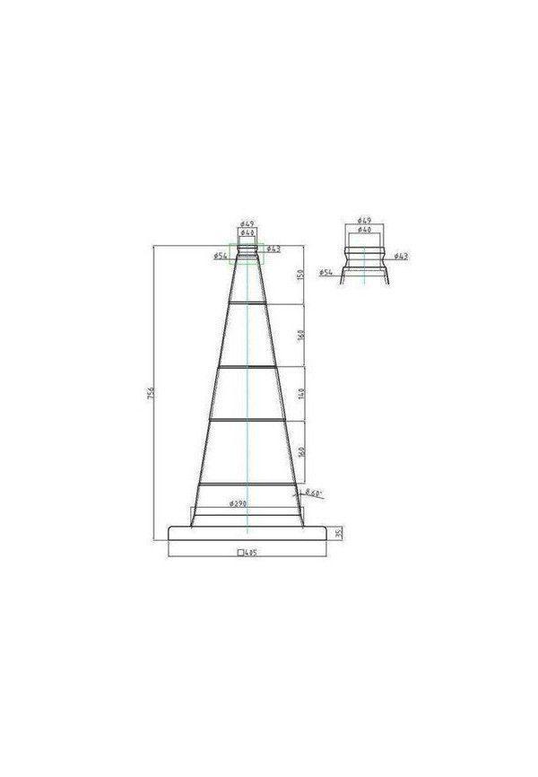 Cônes de Signalisation Neutre/Non Retro - 2 bandes - 750mm