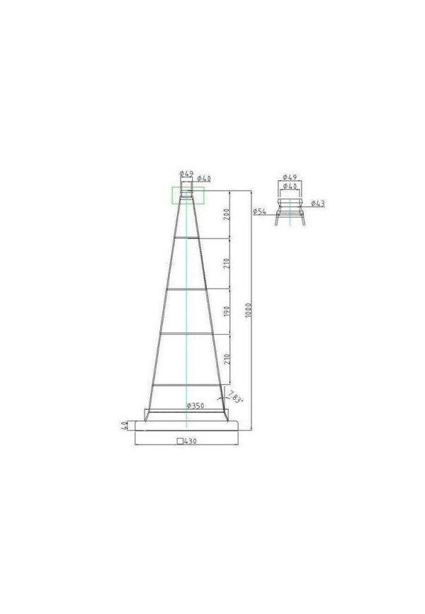 Cônes de Signalisation Classe 2 - 2 bandes - 1000mm - 7.5Kg
