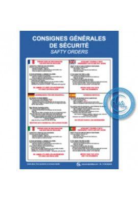 Consignes de sécurité 6 langues