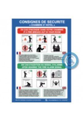 Consignes de sécurité chambre d'hotel