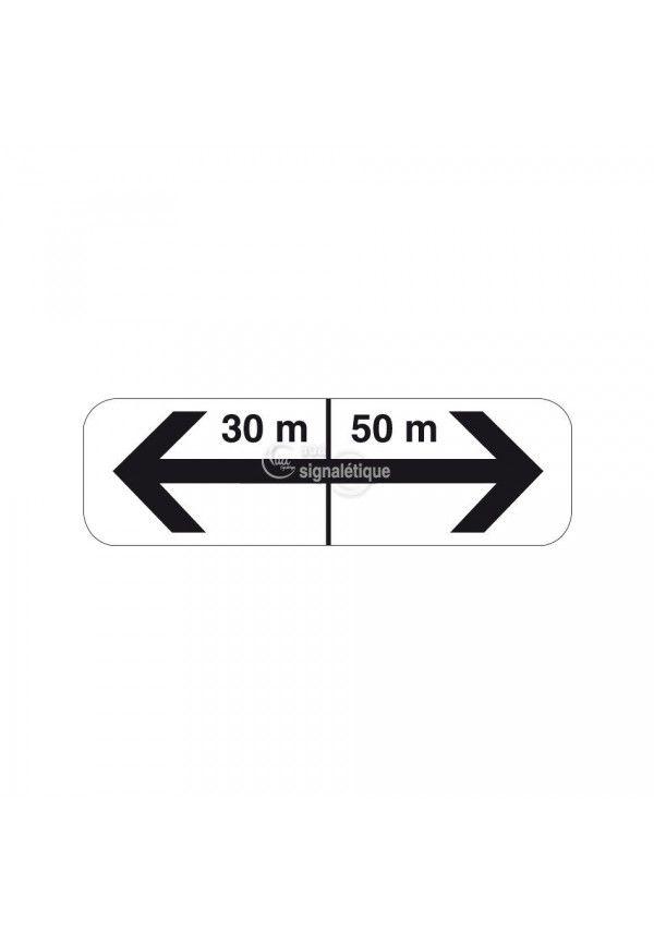 Panonceau flèches de section avec distances - M8f-bis