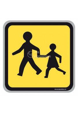 Panneau jaune Enfants ralentissez