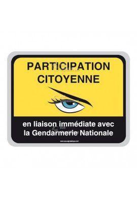 Panneau Participation Citoyenne -  Gendarmerie Nationale - AP