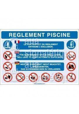 Panneau Règlement Piscine 3 langues