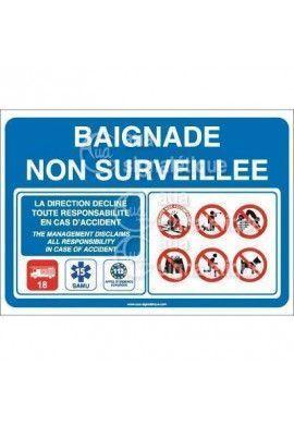 Panneau Baignade Non Surveillée 02