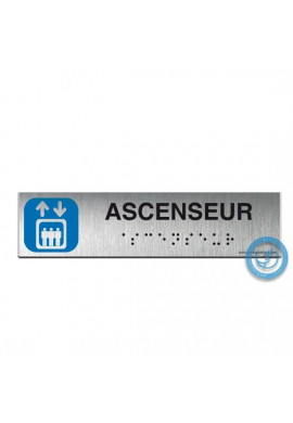 Alu Brossé - Braille - Ascenseur 200x50mm