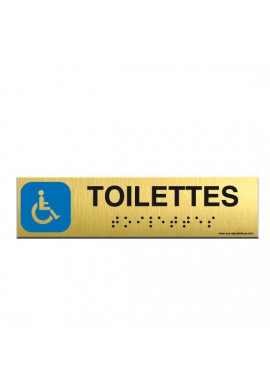 Alu Brossé - Braille - Toilettes Handicapés 200x50mm