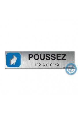Alu Brossé - Braille - Poussez 200x50mm