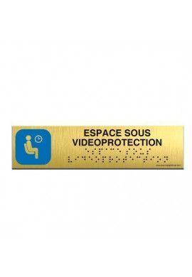 Alu Brossé - Braille - Espace sous surveillance 200x50mm
