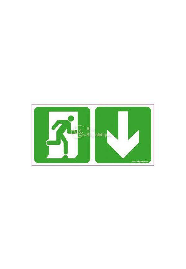 Panneau Direction de sortie, en dessous vers la droite - C