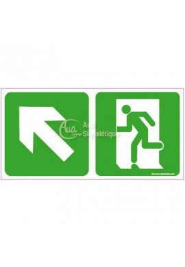 Panneau Direction de sortie en montant vers la gauche