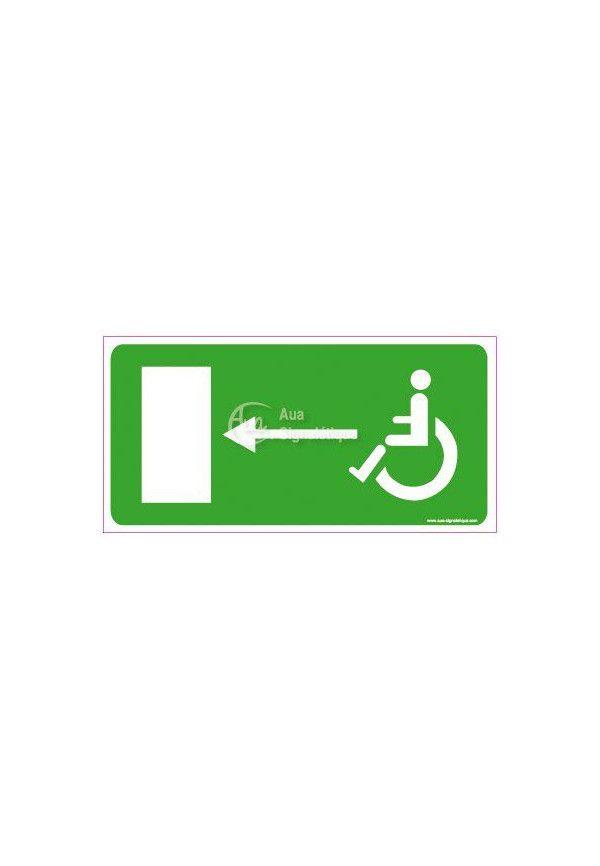 Panneau Direction de sortie pour handicapés, vers la gauche - C