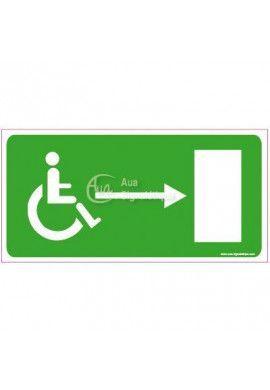 Panneau Direction de sortie pour handicapés, vers la droite - C