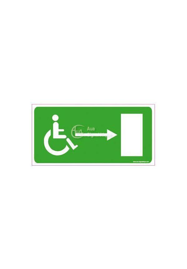 Panneau Direction de sortie pour handicapés, vers la droite