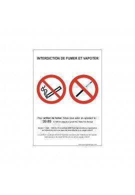 Panneau Interdiction de Fumer et Vapoter - AI