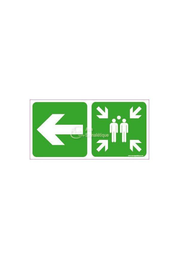 Panneau Point de Rassemblement, vers la gauche - C