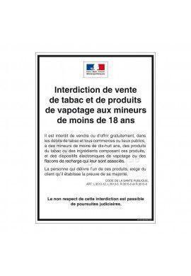 Consigne Restrictions vente de tabac et de produits de vapotage
