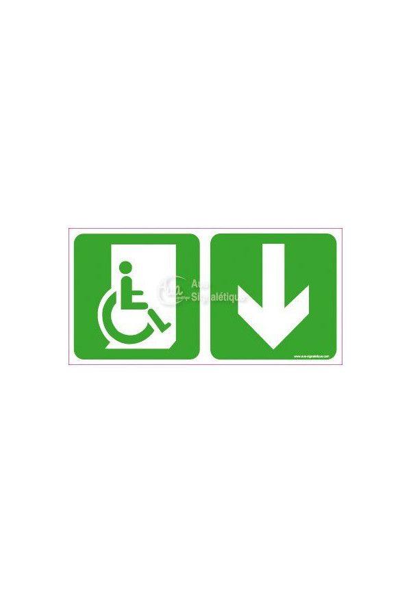 Panneau Direction de sortie Handicapé, En dessous vers la droite - C