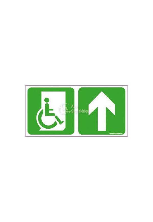 Panneau Direction de sortie Handicapé, au dessus vers la droite - C