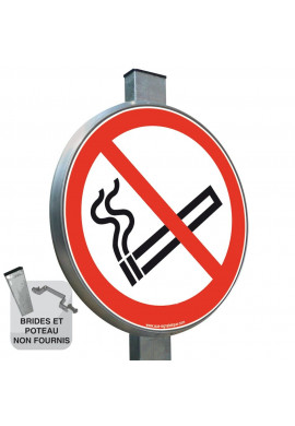 Interdiction de Fumer P002 - Panneau type routier avec rebord