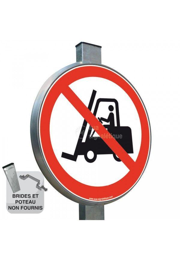 Interdit aux chariots élévateurs à fourche P006 - Panneau type routier avec rebord