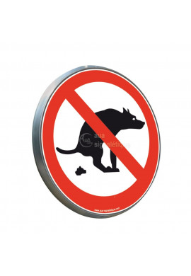 Déjections canines interdites  - Panneau type routier avec rebord