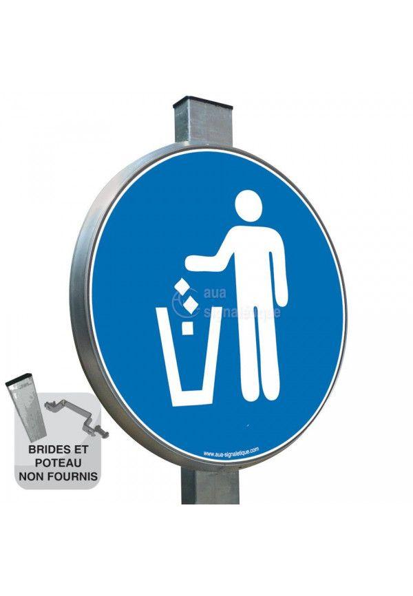 Obligation d'Utiliser la Poubelle - Panneau type routier avec rebord