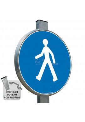 Passage obligatoire pour piétons - Panneau type routier avec rebord