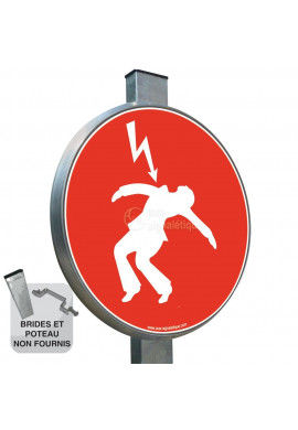 Danger électrique Rouge - Panneau type routier avec rebord