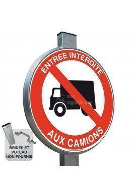 Entrée interdite aux camions - Panneau type routier avec rebord