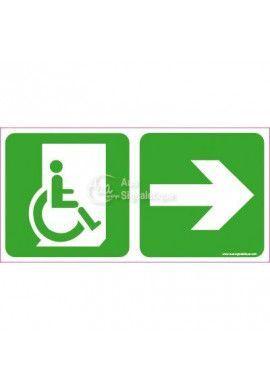 Panneau direction de sortie Handicapé, vers la droite - C