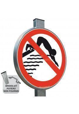 Plongeon interdit - Panneau type routier avec rebord