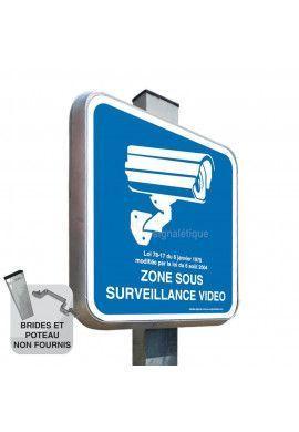Zone Sous Surveillance Vidéo - Panneau Type Routier Avec Rebord