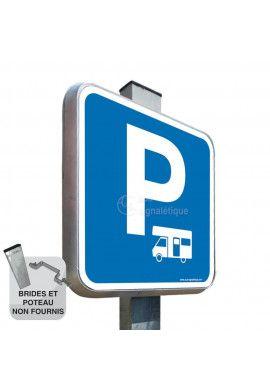 Parking Camping Car - Panneau Type Routier Avec Rebord
