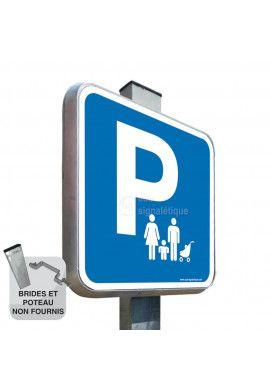 Parking Famille - Panneau Type Routier Avec Rebord