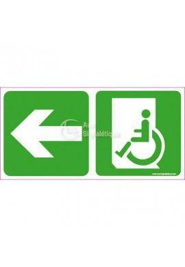 Panneau Direction de sortie Handicapé, vers la gauche - C