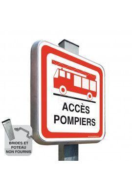 Accès Pompiers - Panneau Type Routier Avec Rebord